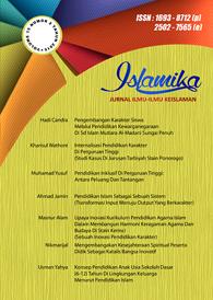 View Vol. 17 No. 2 (2017):  Islamika : Jurnal Ilmu-ilmu Keislaman