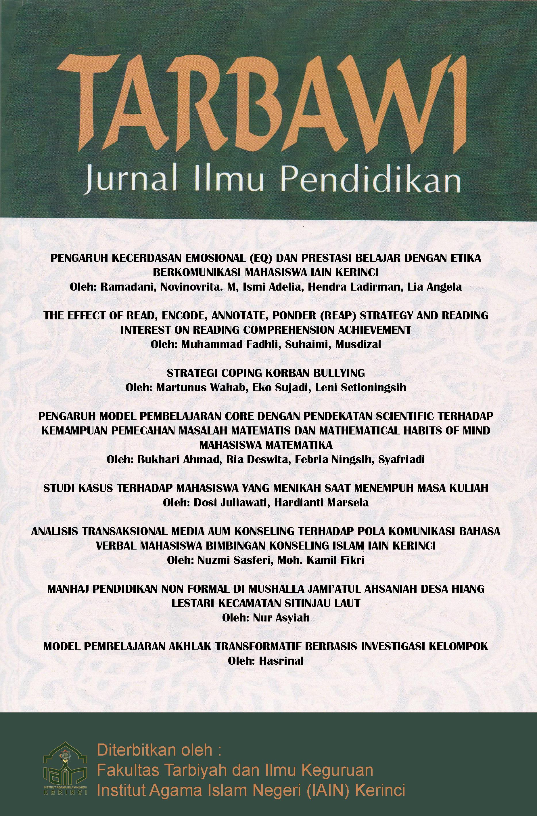 View Vol. 14 No. 2 (2018): Tarbawi : Jurnal Ilmu Pendidikan