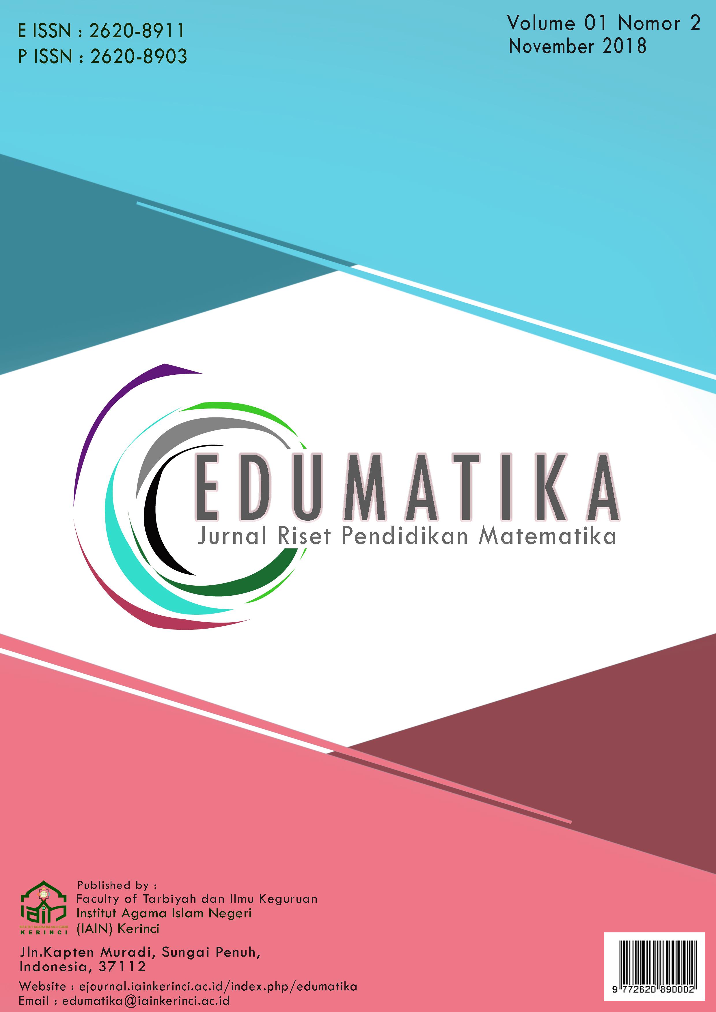 View Vol. 1 No. 2 (2018): November 2018, Edumatika : Jurnal Riset Pendidikan Matematika