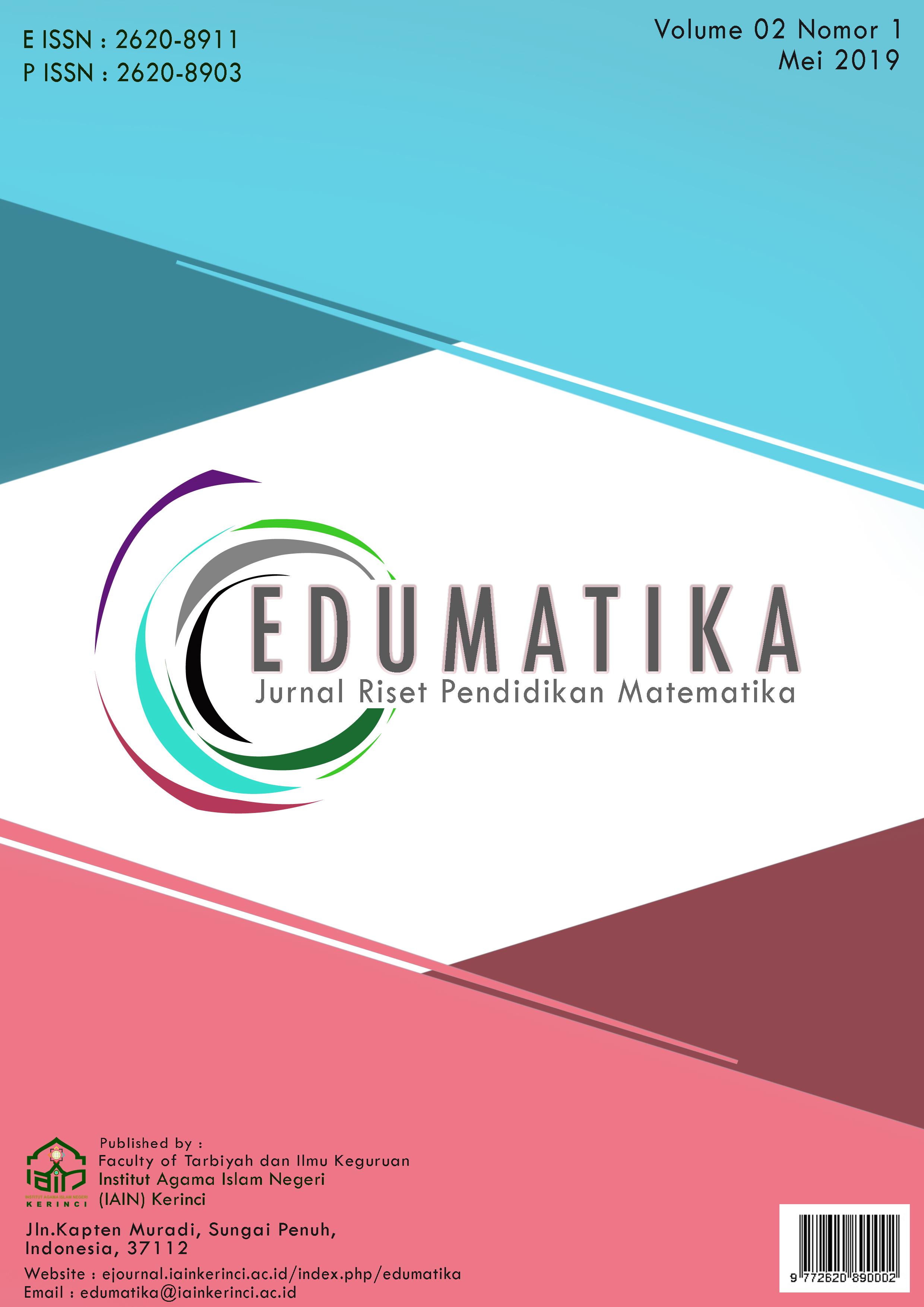 View Vol. 2 No. 1 (2019): Mei 2019, Edumatika : Jurnal Riset Pendidikan Matematika